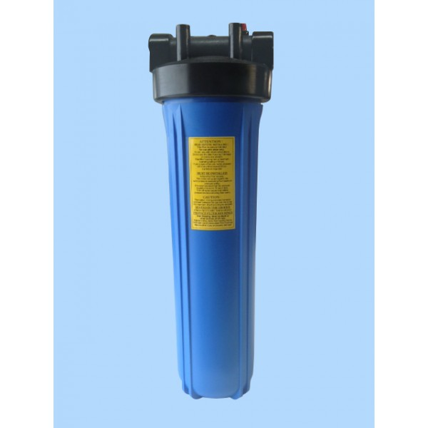 Blue Jumbo 20 inch Filter Housing NSF approved with Pressure Gauge hole. 25mm Inlet and Outlet.